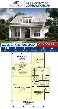 Modern Farmhouse Plan Full of Modern Farmhouse charm, Plan Guest House Plans, Small House Floor Plans, Barn House Plans, Cottage House Plans, Dream House Plans, Tiny House Plans, Dream Houses, 2 Bedroom House Plans, Cabin Floor Plans