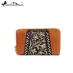 TOOLED WALLET - BROWN