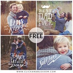 FREEBIE - Father's Day Photoshop Overlays - Click & Blossom