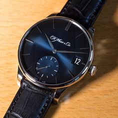 Doing it big and blue this Moser Monday with the Venturer Big Date in white gold with a midnight blue fumé convex dial.