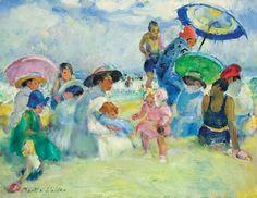 Martha Walter (American Impressionist, 1875–1976) Crowded Beach