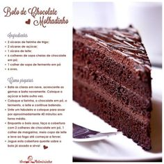 Sweets Recipes, Cake Recipes, Chocolate Desserts, Bolo Chocolate, Food Cakes, Vintage Recipes, Yummy Cakes, Food And Drink, Favorite Recipes