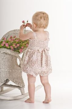 Biscotti Meadowsweet Floral Romper with Passementerie Detail $65