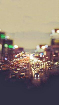 City Traffic Evening Tilt Shift iPhone 6 wallpaper