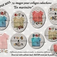 """Images digitales pour collage digital """"en marinière"""" pour cabochon bijoux, envoi par mail"""