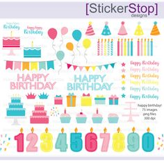 Happy Birthday Party Digital Clipart Set - Instant download PNG files by StickerStop on Etsy