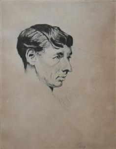 Portrait of Norman Lindsay by Lionel Lindsay. etching 11/30, signed lower left.