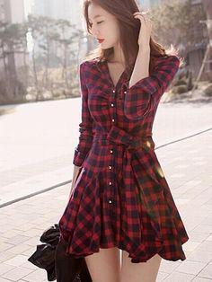 Comfortable Plaid Skater Dress Skater Dresses from fashionmia.com