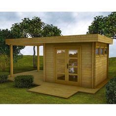Abri en bois massif 9m² MODERNE traité marron + terrasse Gardy Shelter