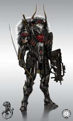 """one of the main helldiver characters """"Zatoichi"""" mix of professional sifi soldier and old world hunter warrior the all rounder of the team"""