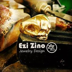 EZI ZINO WILLIE SKULL biker outlaw RING SOLID 14K YELLOW GOLD  Authenticity  #Handmadeezizino #SignetSKULL