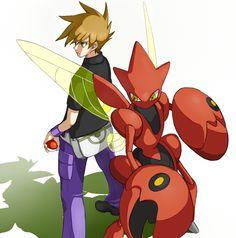 trainer green pokemon - Google Search Pokemon Fan Art, My Pokemon, Gary Oak, Green Pokemon, Pokemon Crossover, Pokemon People, Original Pokemon, Pokemon Special, Pokemon Pictures