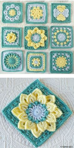 Free Crochet Pattern of Floral Crochet Blocks Squares. Just look at these beauti. Free Crochet Pattern of Floral Crochet Blocks Squares. Just look at these beautiful flower blocks! You absolutely must m. Crochet Motif Patterns, Crochet Blocks, Granny Square Crochet Pattern, Crochet Stitches, Flower Granny Square, Free Crochet Square, Crochet Flower Squares, Crochet Square Blanket, Crochet Borders