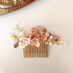 Beautiful hair combs with blush pink flowers.. New design !  This delicate hair combs & pins have loads of pearls, crystals and blush pink flowers ..