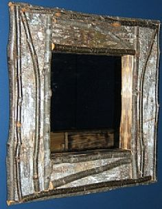 RUSITC BIRCH Bark FRAME with hickory Twig by ViennaWoodworks, $75.00