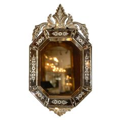late 19th / early 20th century  A beautiful etched #Venetian #mirror #antique