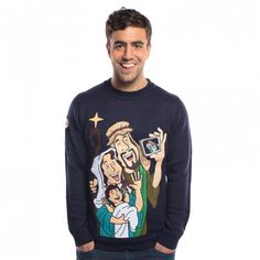 Mens Christmas jumpers a hottest trend mens christmas jumpers baby jesus selfie jumper SFZBZYA Best Christmas Sweaters, Mens Christmas Jumper, Tacky Christmas Sweater, High Street Stores, Christmas Jumpers, Baby Jesus, Ugly Sweater, Graphic Sweatshirt, Selfie