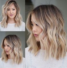 Exquisite Long Bob Hairstyles 2019 You Might Wish to Have This Year. Sandy Blonde Hair Color is Adding More Beauty to Layered Bob Hairstyles Try These Exceptionally Gorgeous Long Bob Hairstyles 2019 to Get Trendiest Hairstyles of The Season. Sandy Blonde Hair, Long Bob Blonde, Long Bob Balayage, Balayage Hair, Wavy Hair, Blonde Asian Hair, Blonde Brunette, Asians With Blonde Hair, Blonde Lob Hair