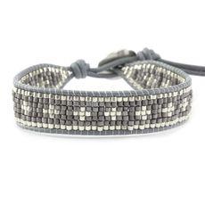Grey Mix Single Wrap Bracelet on Iceberg Leather - Chan Luu Bead Loom Bracelets, Beaded Wrap Bracelets, Handmade Bracelets, Beaded Jewelry, Jewelry Bracelets, Jewelery, Bracelet Designs, Bracelet Patterns, Motifs Perler