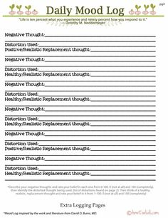 pg CBT printable to work alongside with the work and literature by David D Burns. Cbt Worksheets, Therapy Worksheets, Therapy Activities, Cbt Therapy, Therapy Tools, Health Psychology, School Psychology, Counseling Techniques, Daily Mood