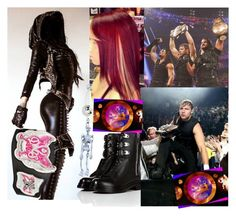 """""""Coming out with The Shield as Deans girlfriend and being Divas champ and mixed tag team champs with Dean!!!!!!!!!"""" by assexyaswesley ❤ liked on Polyvore featuring Vision and Sergio Rossi"""