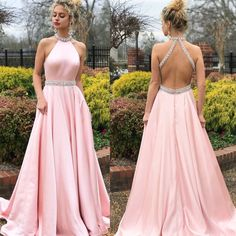 Pink A-Line Satin Prom Dresses, Beaded Backless Vintage Prom Dresses, Prom Dresses Long Pink, Beach Wear Dresses, Sexy Dresses, Formal Dresses, Pastel Prom Dress, Party Dresses, Dress Prom, Prom Gowns, Formal Prom