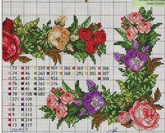patrones flores en punto de cruz