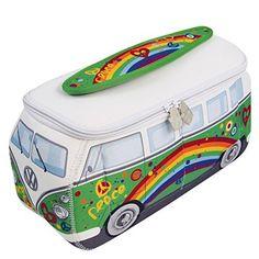 Brisa BUNE43 Sac de Universel VW Combi T1 Peace, Vert/Blanc: Parfait pour vos voyages, notre sac de camping car Volkswagen est aussi…