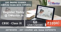 Register for CBSE CLASS - IX - 60 LIVE Classes only ₹ 5990/- LEARN FROM EXPERTS#liveclasses #onlinestudy #onlineeducation #digitaleducation #digitalstudy