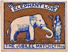 elephant love match box label