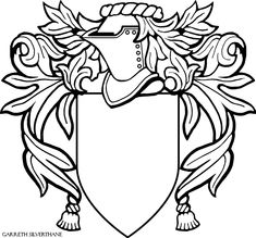 Basic heraldry layout - shield, helm & mantling