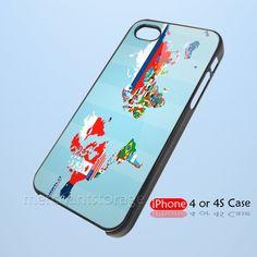 World Flag Map Custom iPhone 4 4S Hard Case Cover