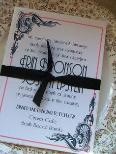 Wedding Invitations Great Art Deco Hollywood by sweetinvitationco