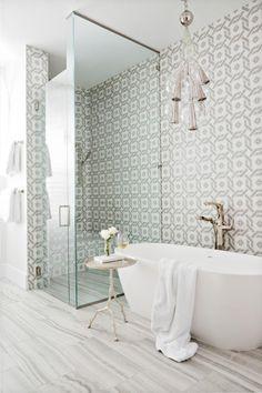 40 Chic Bathroom Tile Ideas | Bathroom Wall and Floor Tile Designs | HGTV Bathroom Tile Designs, Bathroom Floor Tiles, Bathroom Colors, White Bathroom, Bathroom Faucets, Master Bathroom, Bathroom Wall, Bathroom Interior, Master Shower