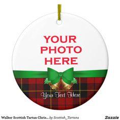 Walker Scottish Tartan Christmas Photo Double-Sided Ceramic Round Christmas Ornament