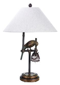 Polly by Night I White Lamp, 65261-2 Contemporary Tropical Brass Lamp by Frederick Cooper. Brass Bird Table Lamps with Free Shipping.