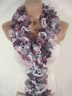 Hand knitted GrayPinkBurgundy Ruffled Scarf by Arzu's by Arzus, $19.90 Ruffle Scarf, Hand Knitting, Crochet Necklace, Accessories, Fashion, Crochet Collar, Moda, Fasion, Trendy Fashion