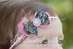 Mossy Oak Camo Hair Bow Headband on Pink Stretchy Headband for Babies, Little Girls by LilCountryCousins, $5.95