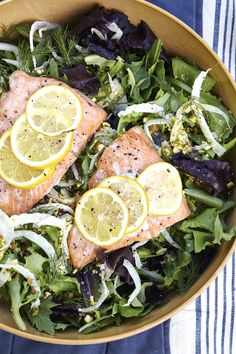 Salmon salad with shaved fennel, pistachio, dill and celery seed vinaigrette.