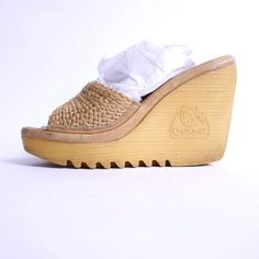 a77482c8bb17d Size 7N    70s Platform Wedge Mules Braided Jute and Leather Cherokee    110