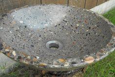 "Concrete Vessel Sink With River Rock 16 1/4"" diameter x 4 1/4"" deep... Standard drain hole from myownconcrete on etsy"