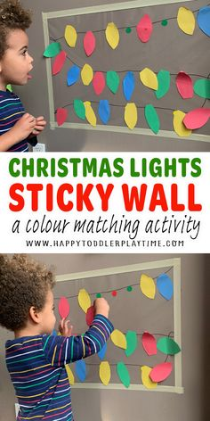 Christmas Lights Sticky Wall - HAPPY TODDLER PLAYTIME Toddler Age, Toddler Learning, Toddler Preschool, Toddler Activities, Christmas Crafts For Kids, Christmas Activities, Christmas And New Year, Christmas Lights, Color Activities