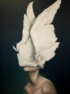 Woman with her head in her wings. Surrealism, neck, white feathers. Painting, Awakening by Amy Judd