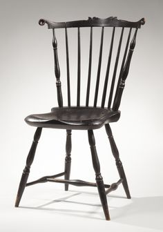 Black-painted fan-back Windsor side chair with rare scalloped crest rail, Massachusetts, Probably Bristol or Plymouth County, circa 1795