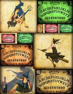 Witchy Ouija collage printable freebie