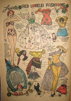 | Lucky Red Lorelei Fashions | Katy Keene #36 September 1957 Bill Woggon  Artist