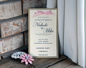 Tiered Wedding Program: silver/gold wedding programs with colored ribbon, elegant wedding programs