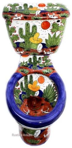 mexican toiletoptional talavera sink, seat amp accessory set product mexican bathroom hand painted toilet set product origin hand painted in Dolores Hidalgo, Mexico delivery . Bar Mexicano, Talavera Pottery, Mexican Style, Traditional Bathroom, Oeuvre D'art, Decoration, Painted Furniture, Hand Painted, Painted Fish