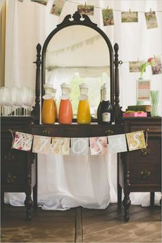 Mint-And-Peach-Vintage-Bridal-Shower-Beverage-Table