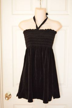 Juicy Couture Black Velour Size Large Halter Dress-EUC #JuicyCouture #CoverUp #Casual